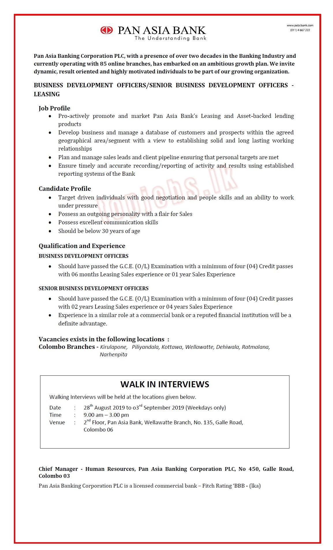 Business Development Officer Job Vacancy at Pan Asia Bank