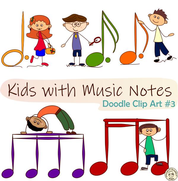 Kids With Music Notes Doodle Clip Art Bundle Music Note Doodle Clip Art Music Notes