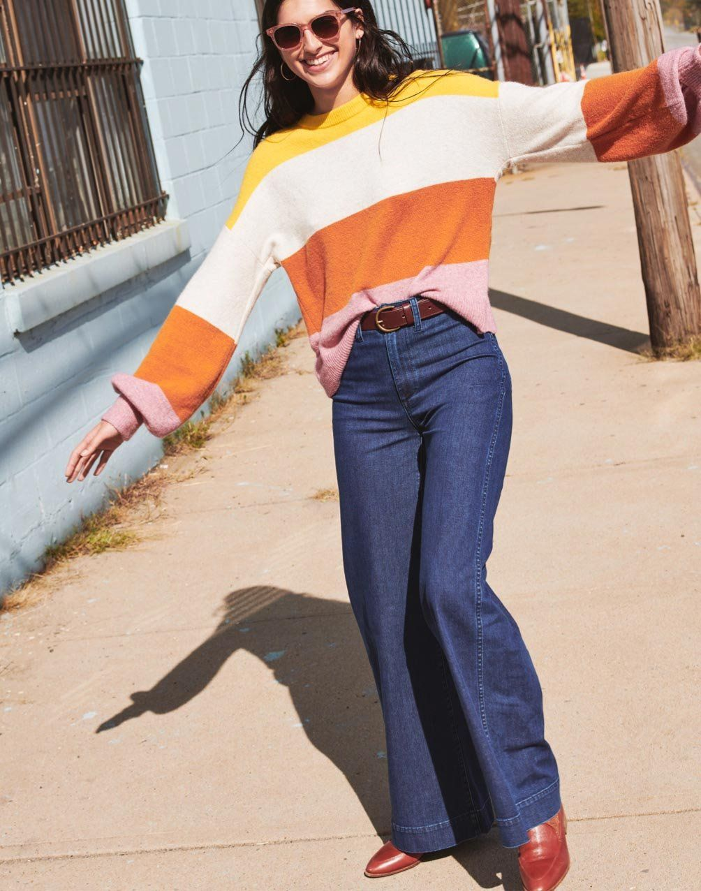 bab6827ecf madewell emmett wide-leg jeans worn with striped gladwell pullover sweater