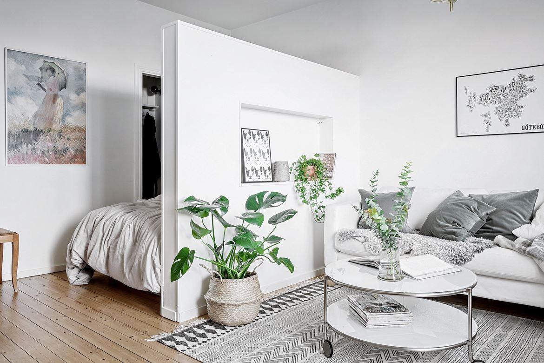 Studio apartment with a half high dividing wall  Apartment design
