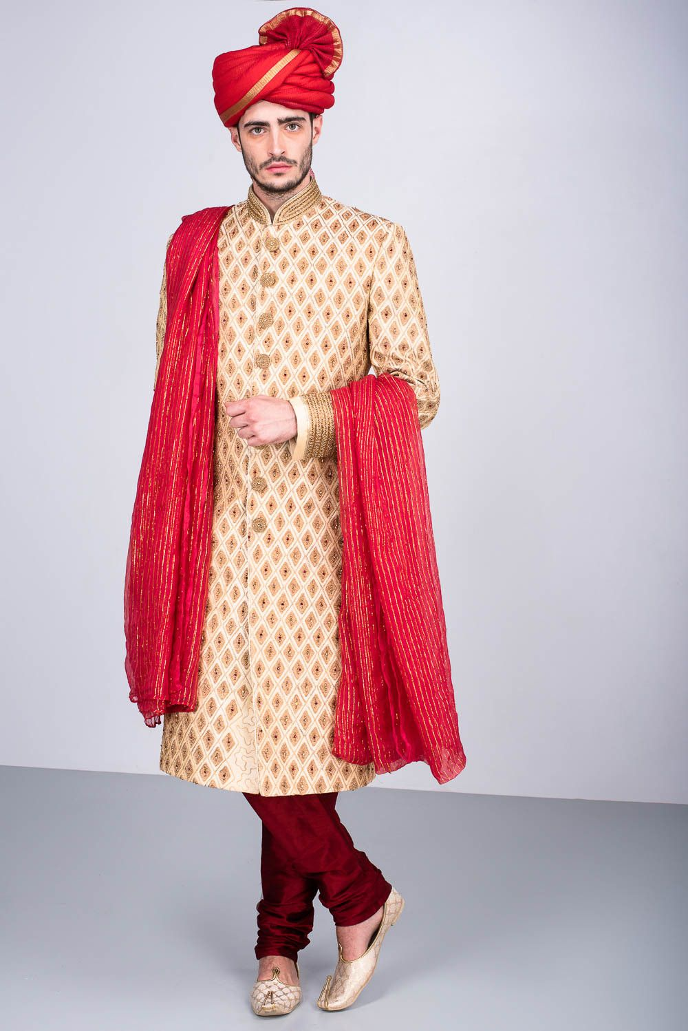 Oshnaar beige embroidered wedding sherwani with churidar indi