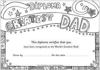 Colouring Diplomas Father S Day Activities Fathers Day Art