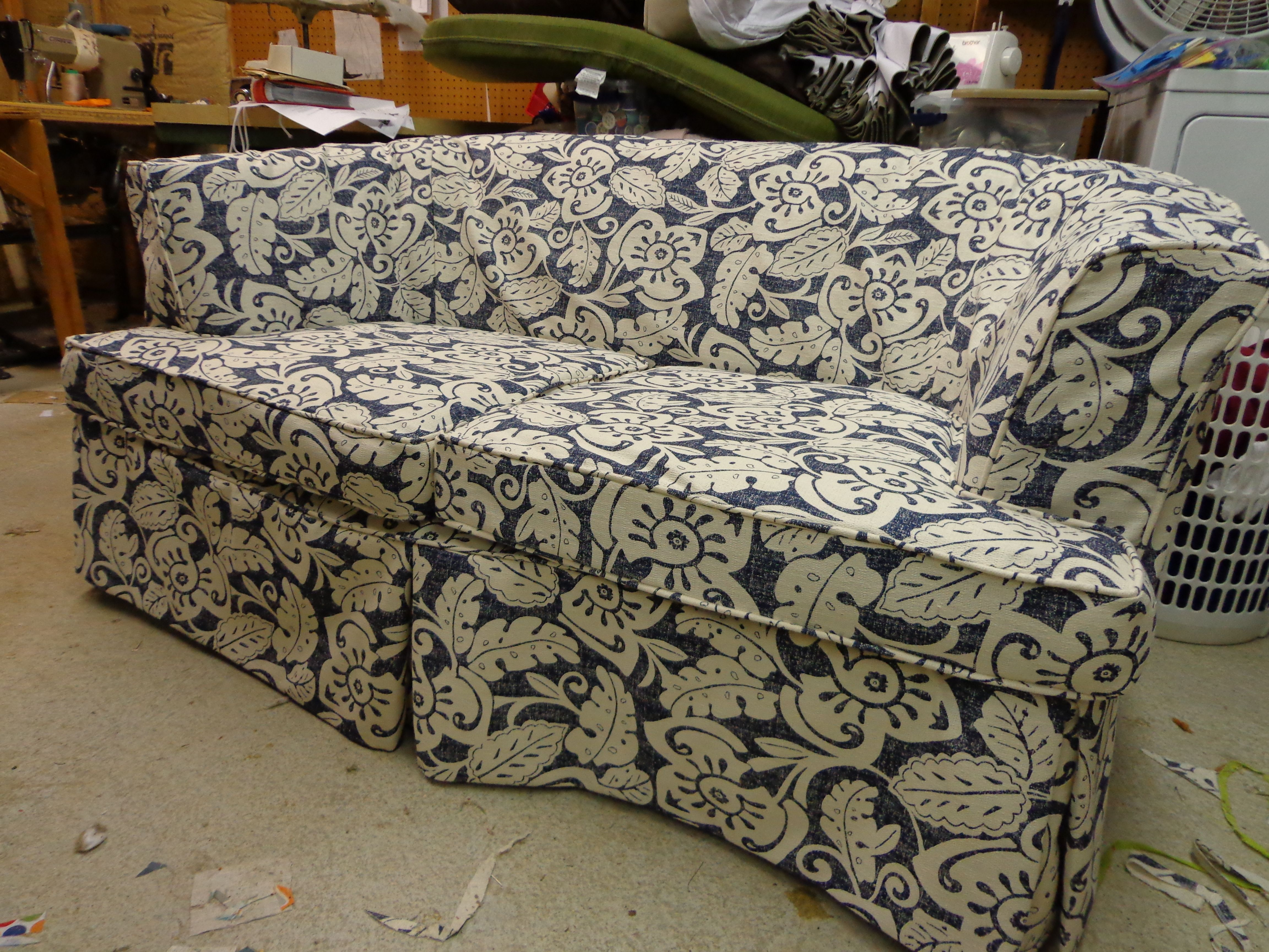 Slipcover For An Old Style Curved Back, Round Couch Slipcovers