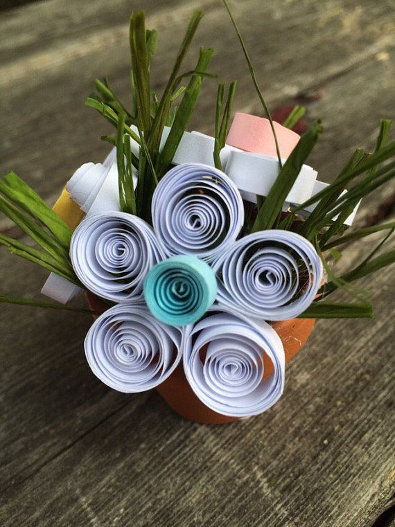 Quiled White Flowers With Colorful Centers Recycled Paper Flowers
