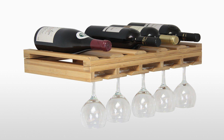Soporte Para Copas Vino Champán Portacopas De Bambú Almacenamiento De Cocina Y Despensa De Madera Amazon Es H Botellero Estantes De Vino Estante De Cristal