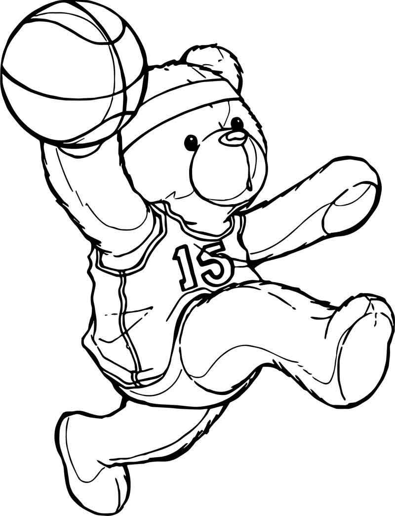 Bear Playing Basketball Coloring Page Baseball Coloring Pages Bear Coloring Pages Sports Coloring Pages