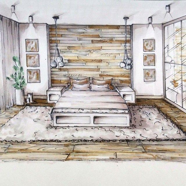 tête de lit + tapis | chambre parents | Drawing interior, Interior ...