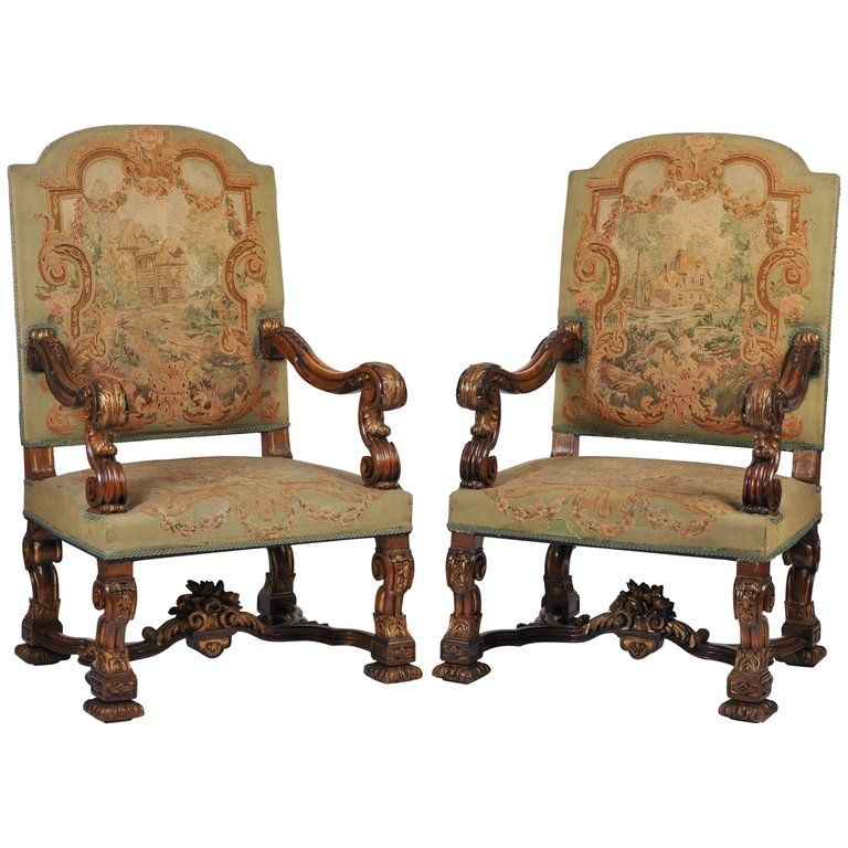 Pair Of 1stdibs Armchairs English Carved Carolean Style Tapestry