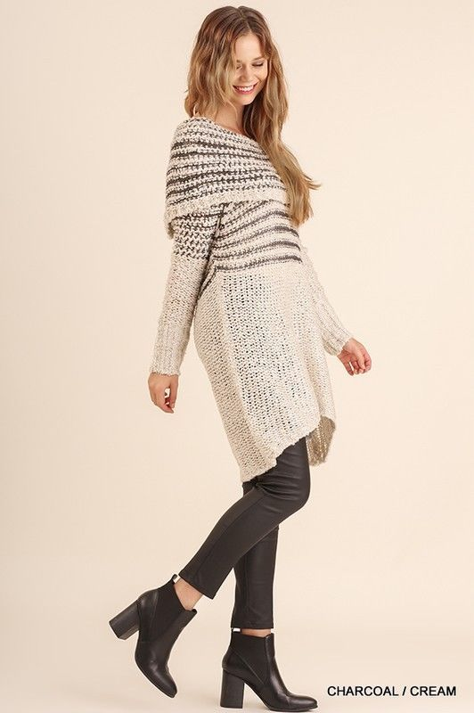 1b1a7c3ccf3 UMGEE off shoulder folded striped sweater knit tunic mini dress sml  umgee   SweaterDress  Casual