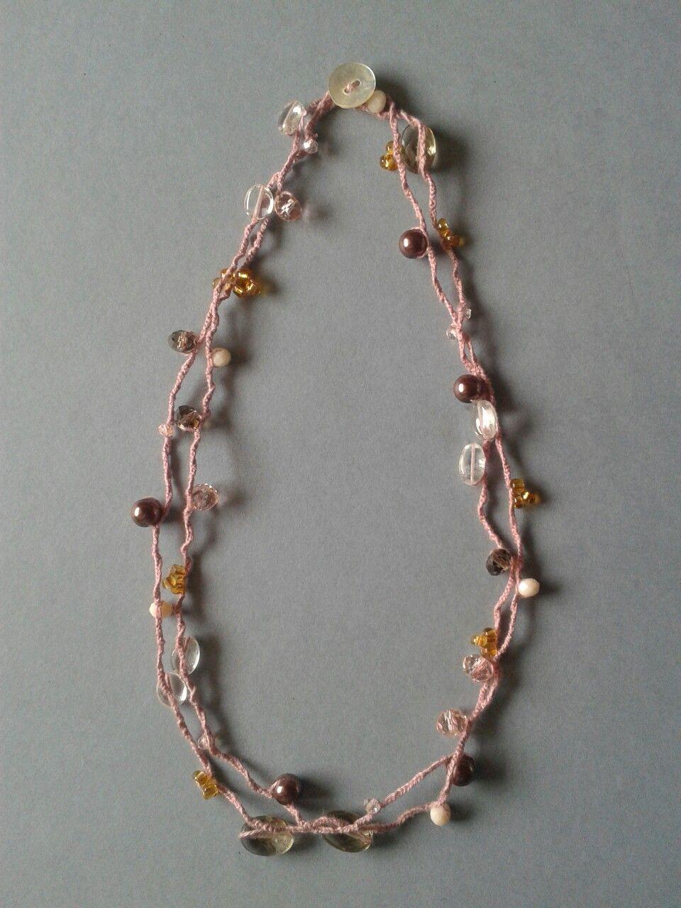 Super Collana/braccialetto all'uncinetto con pietre semi- preziosi e  KB12