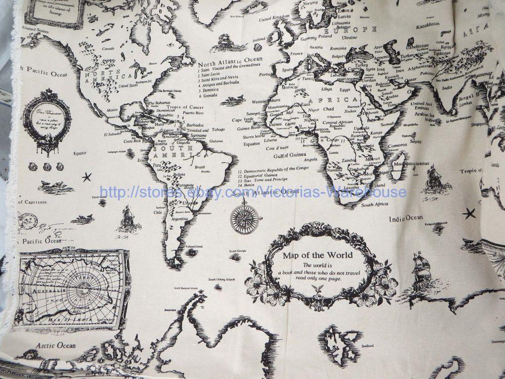 1 yard vintage retro world map cotton linen sewing quilting fabric 1 yard vintage retro world map cotton linen sewing quilting fabric 59 wide gumiabroncs Gallery