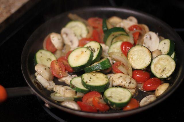 Onions, zucchini, mushrooms, and tomatoes sauteed with garlic, basil, oregano.