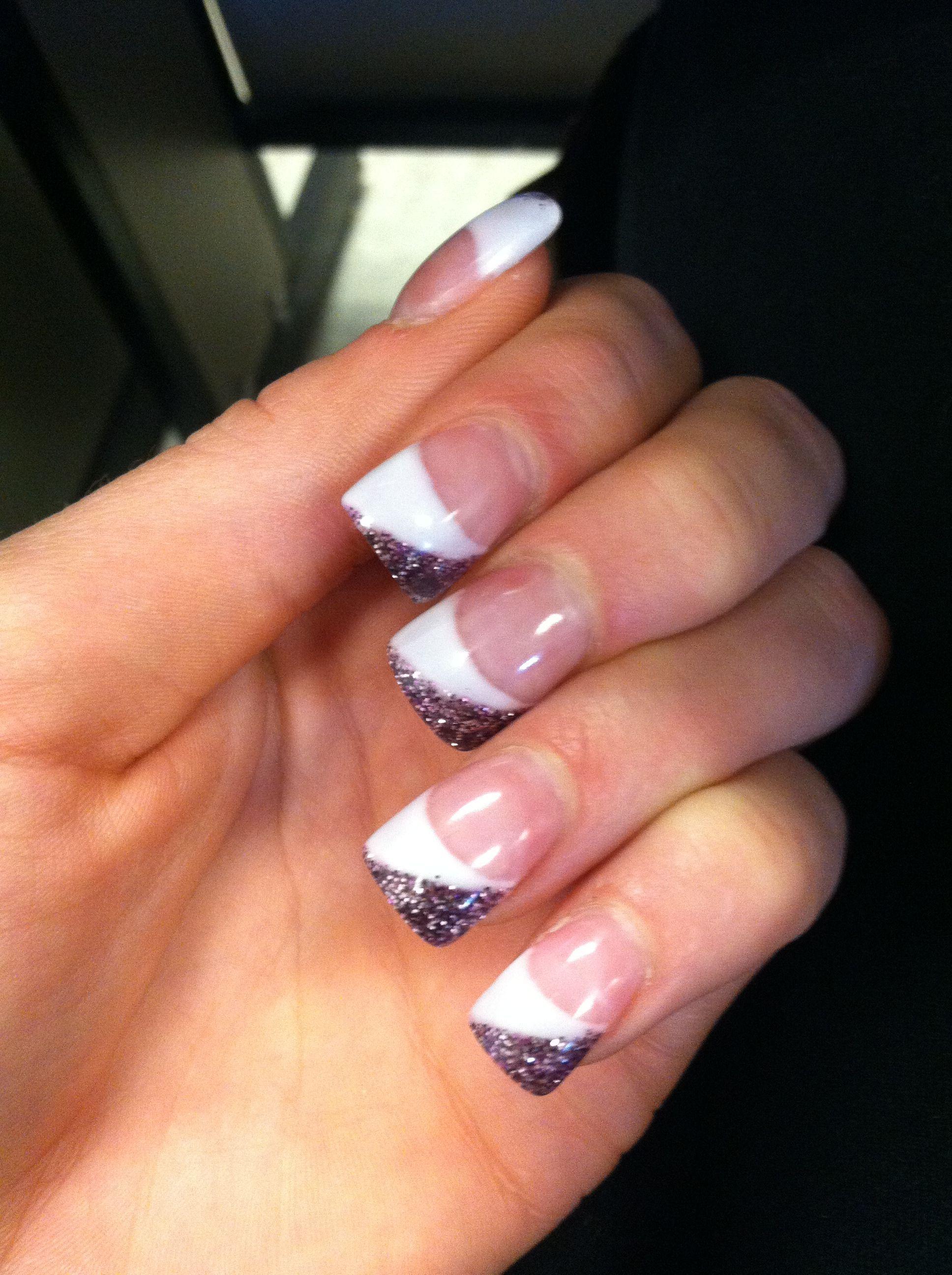 Purple sparkly fake nails   Acrylic Nail Art Designs   Pinterest ...