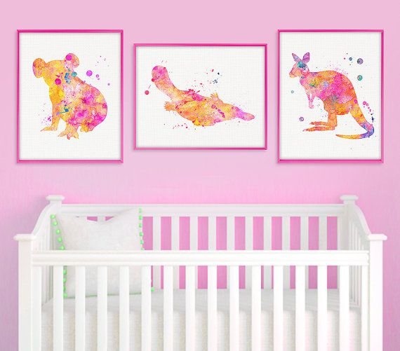 Australian Animal Nursery Print Set Koala Platypus