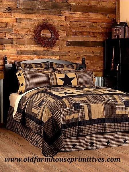 #BCS1 Primitive Black Check Star Quilt Bedding