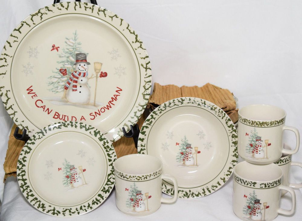16 Piece Christmas Stoneware \ We Can Build A Snowman\  Dish Set Holiday Dishes  sc 1 st  Pinterest & 4 bread plates.   XOXO It\u0027s Christmas   Pinterest   Dish sets ...