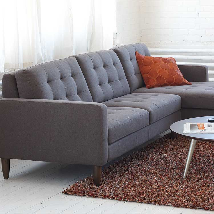 Modern, Mid-century Fabric Sectional, Sofa And Ottoman