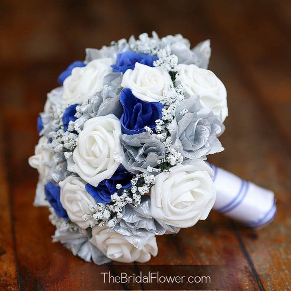 Bouquet Sposa 250 Anniversario.Royal Blue And Silver Silk Wedding Bridal By Thebridalflower