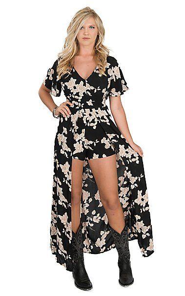 bdeef1ffe2 Angie Women s Black   Cream Floral Short Sleeve Maxi Romper Dress ...