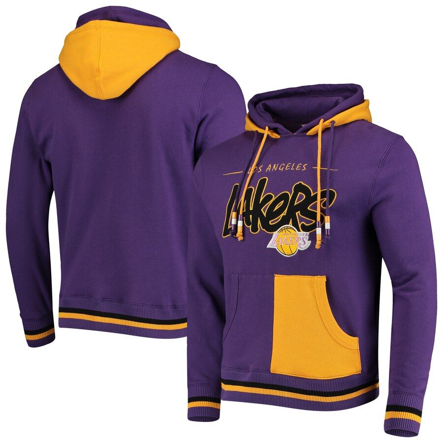 Men S Los Angeles Lakers Mitchell Ness Purple Hardwood Classics Double Pullover Hoodie In 2020 Los Angeles Lakers Pullover Hoodie Hoodies