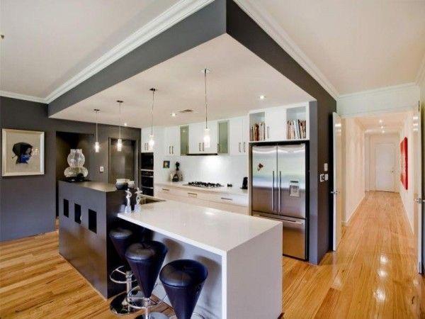 Cuisine contemporaine blanche et noire | Kitchens, Kitchen drawers ...