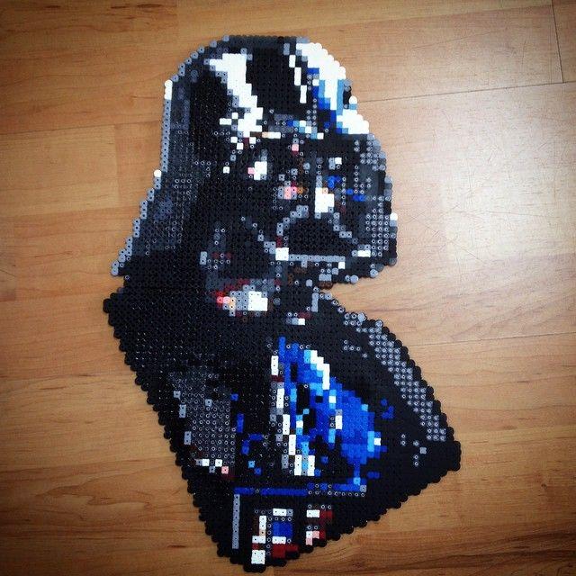 Star Wars Darth Vader On Stand Perler Bead Art By