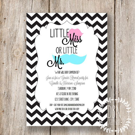 INSTANT DOWNLOAD, Gender Reveal/ Ties and Tutus Invitation 5 x 7 ...