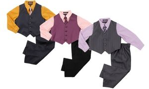 Let your little one look his best on formal occasions with this matching set of a shirt, vest, tie, and trousers