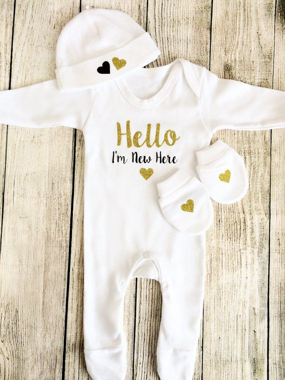 306ba5dbe5c Unisex Hello Newborn Outfit Sleepsuit Hat   Mittens Take. Hello World  Newborn Outfit Baby Pink Bodysuit  amp  by FunkyBubbaloo Newborn Clothes ...