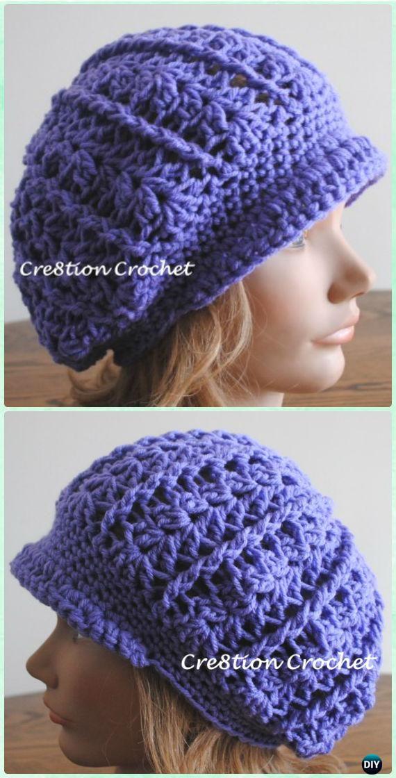 Crochet Women Newsboy Slouch Cap Sun Hat Free Pattern - Crochet ...