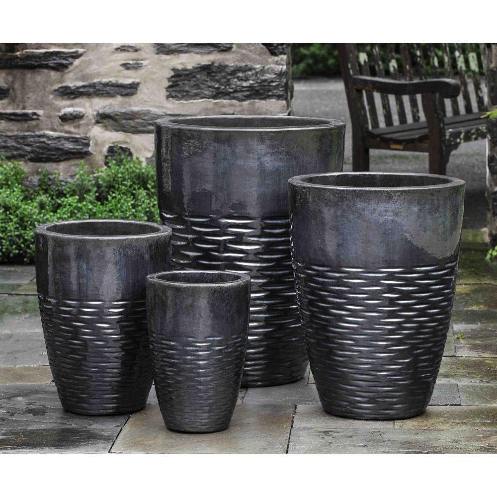 Hyphen large ceramic outdoor garden plant pots ice black