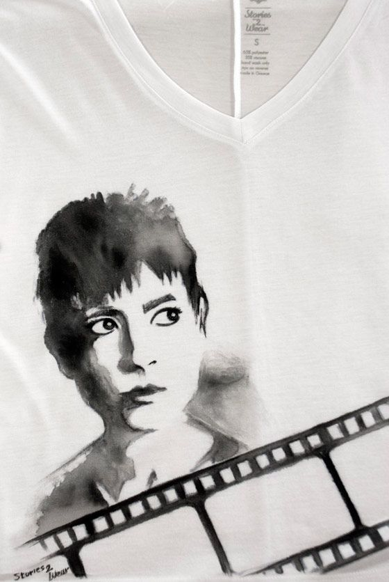 """Electra"" inspired by Irene Papas in Michael Cacoyannis' film Hand-painted viscose t-shirt #b #film #handcrafted #handmade #painting #custom #t-shirt"