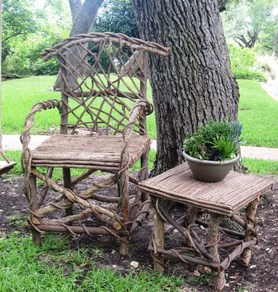 Chair and Small Square Table | River Root Gardens | root planter ...