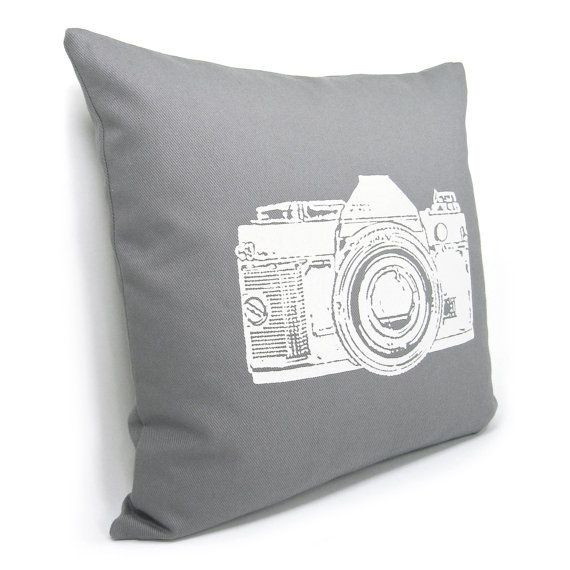 12x18 Or 16x16 Vintage Camera Pillow Cover Light Gray
