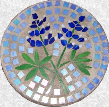 Stained Glass Blue Bonnet Stepping Stone Mosaic Garden