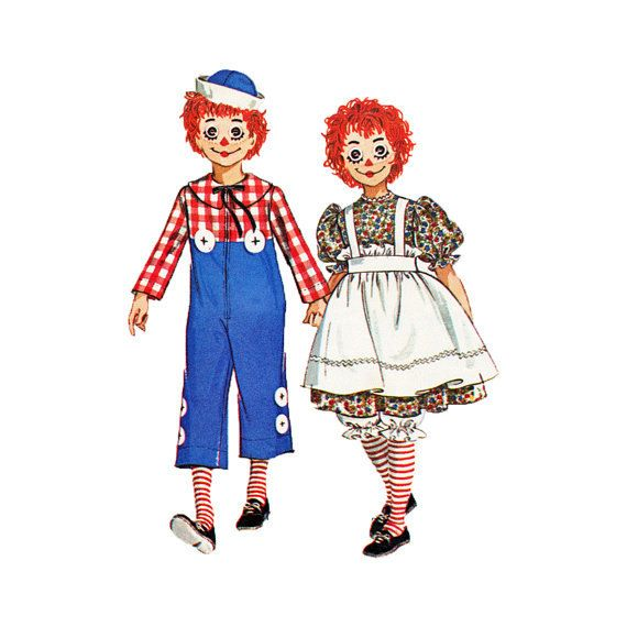 Mccalls 60s Sewing Pattern Halloween Costume Raggedy Ann Andy Rag
