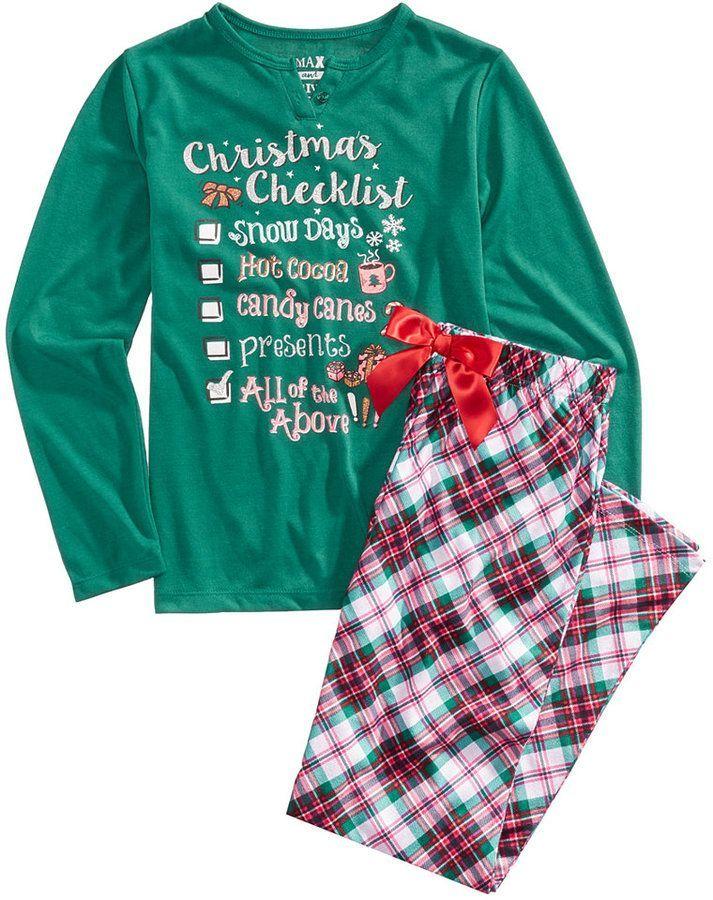 Max   Olivia 2-Pc. Christmas Checklist Pajama Set c75e0bc1e