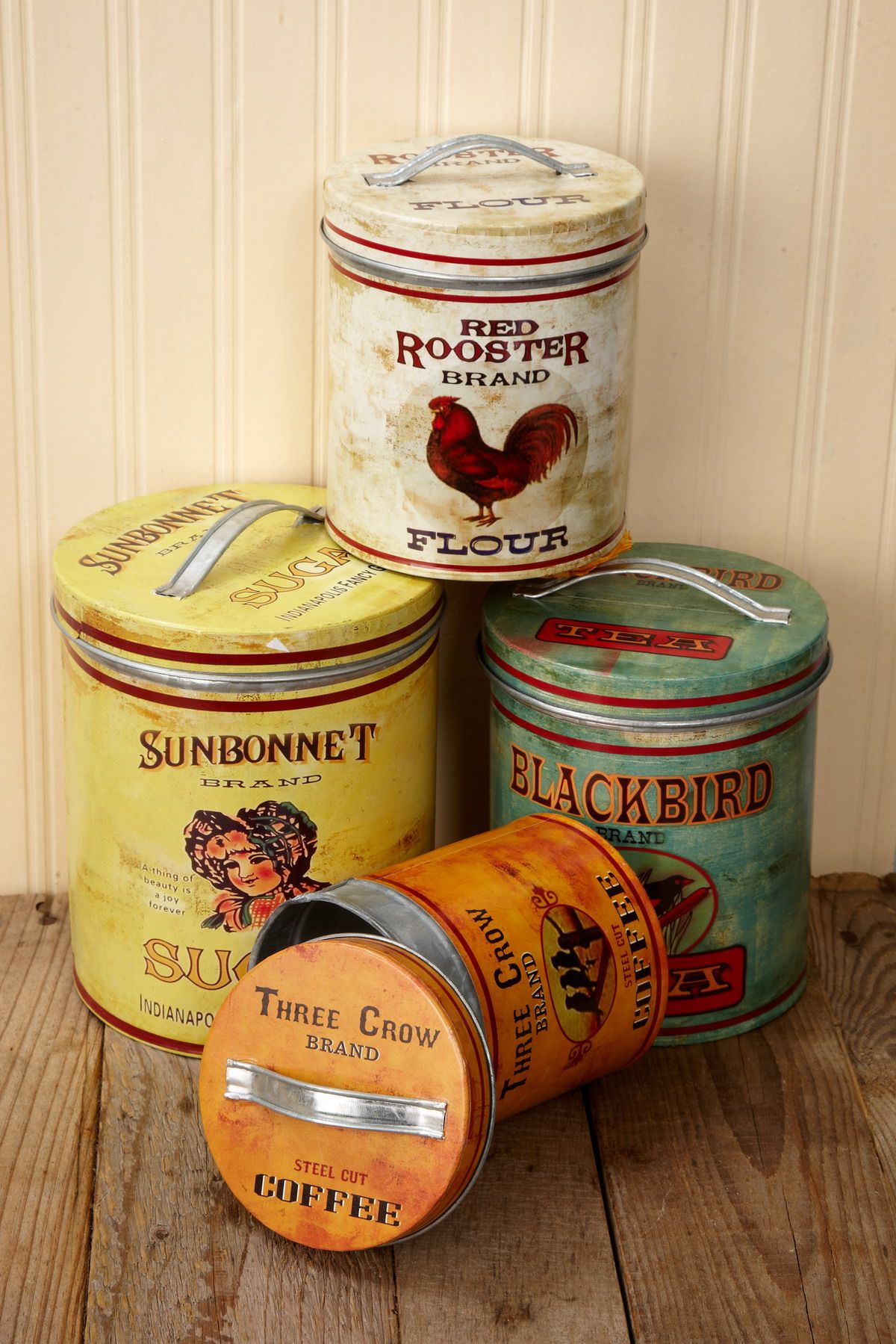 superb Retro Metal Canisters Part - 14: Metal Canisters (Set of 4) Maybe to put over the kitchen cabinets