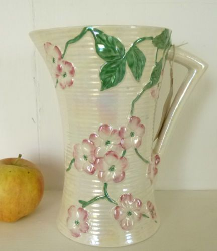 Maling Apple Blossom Jug Vase Pitcher Vintage Pearl Lustre Vase