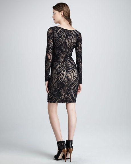 Bcbgmaxazria Slim Laceoverlay Longsleeve Dress in Gray