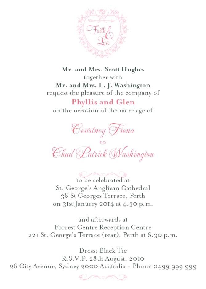 Formal Wedding Invitation Wording Couple Hosting