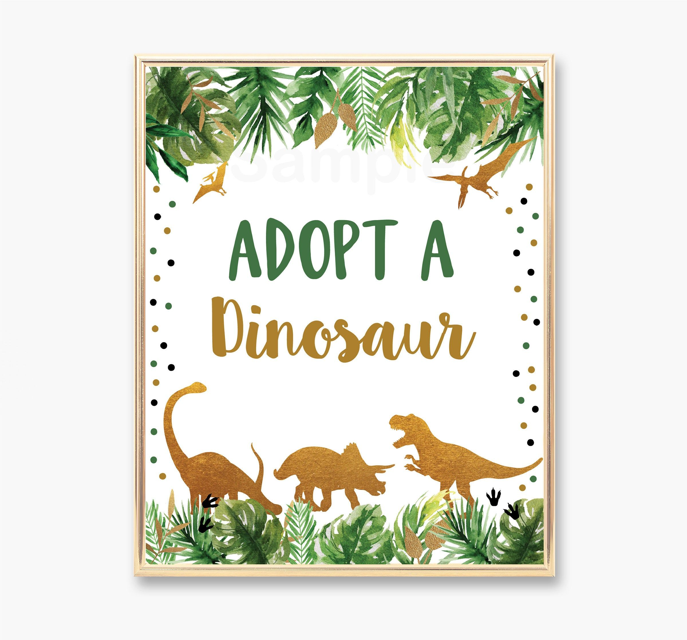 Adopt A Dinosaur Birthday Sign Dinosaur Birthday Party Gold Etsy Birthday Sign Dinosaur Party Favors Dinosaur Themed Birthday Party