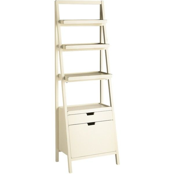 Pier 1 Imports Morgan Tall Shelf with Drawers ($350) ❤ liked on Polyvore featuring home, furniture, storage & shelves, white, white ladder shelves, white ladder shelf, display shelf, ladder shelves and white shelves