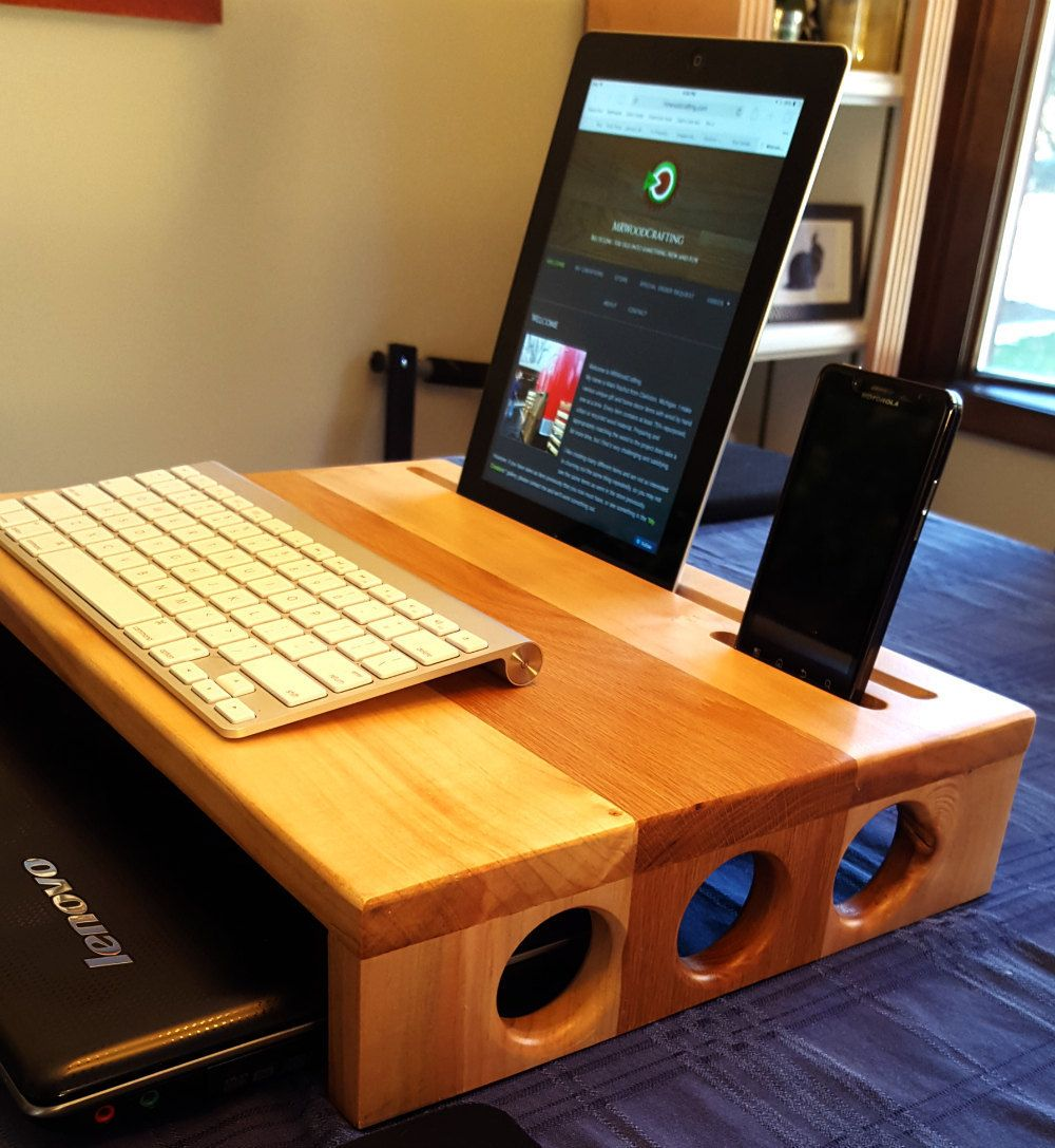 Reclaimed Wood Desk Monitor Stand Docking Station