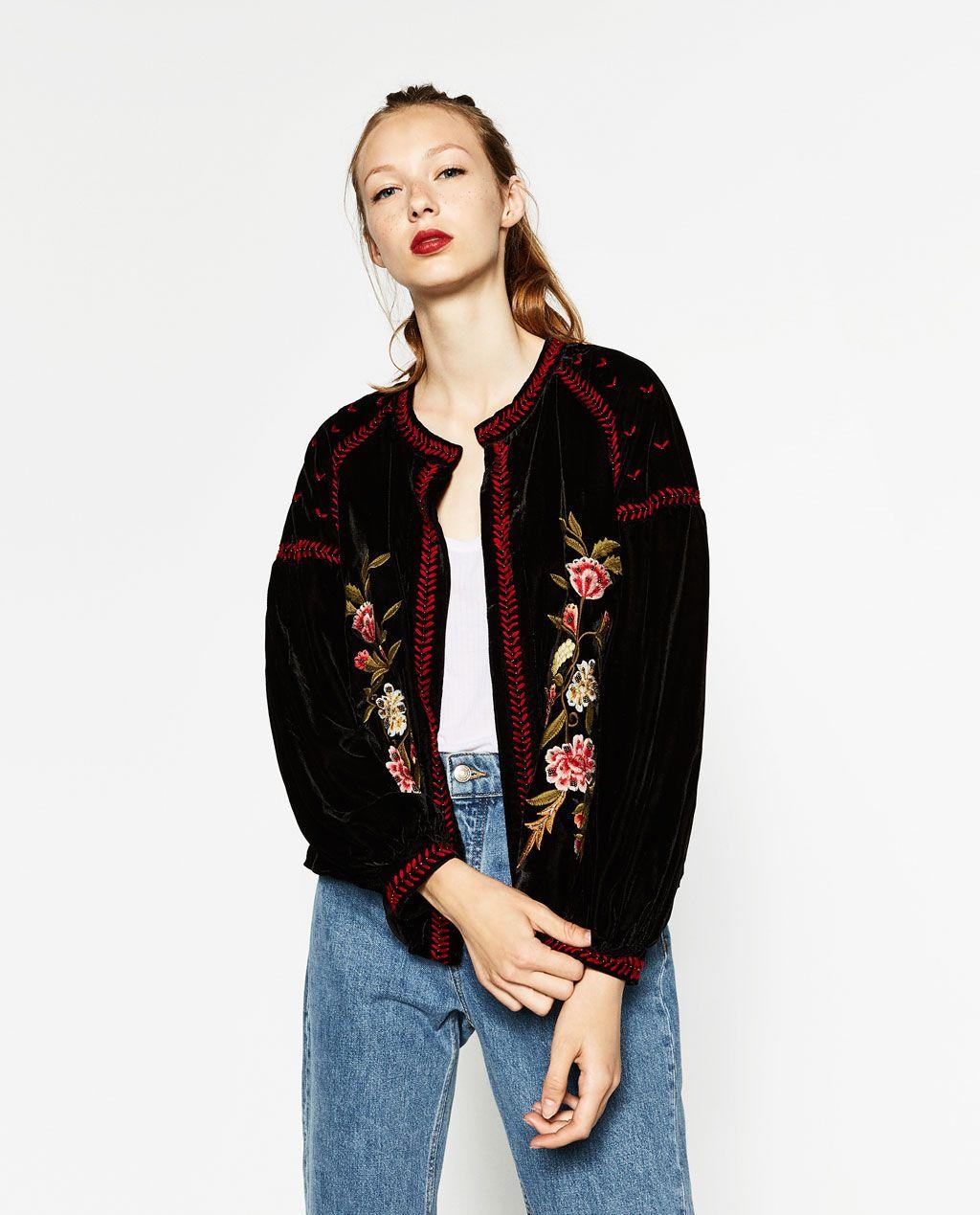 zara femme veste en velours brod e bordado pinterest terciopelo zara y chaquetas. Black Bedroom Furniture Sets. Home Design Ideas