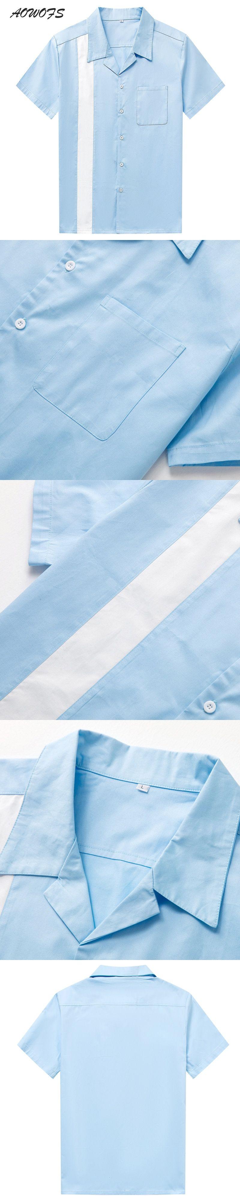 e848afc61f9 AOWOFS 2018 Spring Vintage Fashion Shirts Men Short Sleeve Cotton  Rockabilly Men Big Sizes Blue White