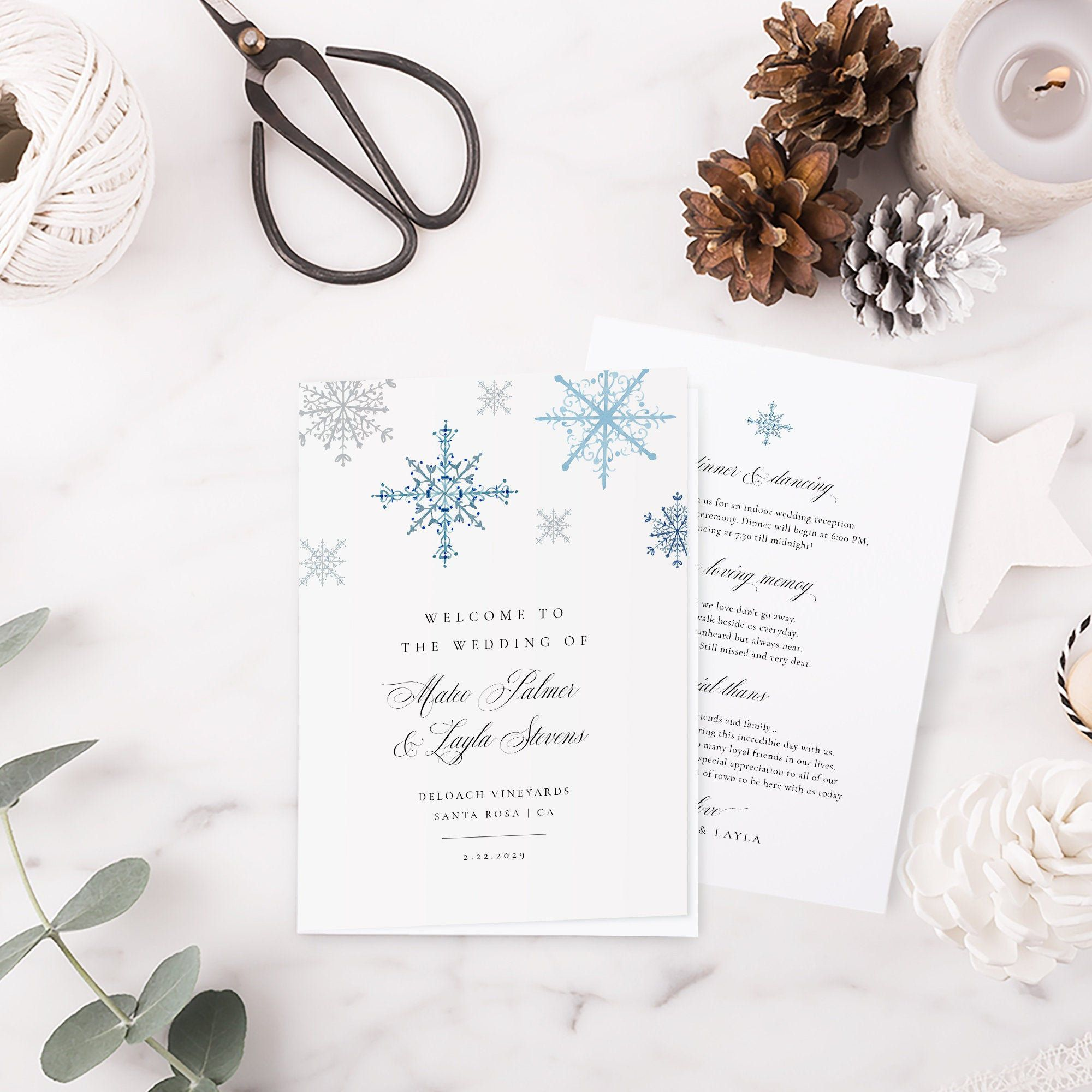 Snowflake Wedding Program Book Template Printable Wedding Etsy Printable Wedding Programs Snowflake Wedding Wedding Programs