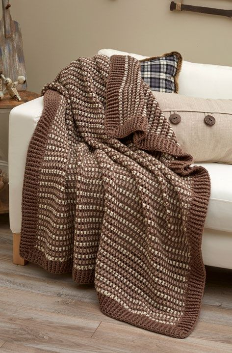 Free Lakehouse Crochet Throw Crochet Pattern from www.RedHeart.com ...
