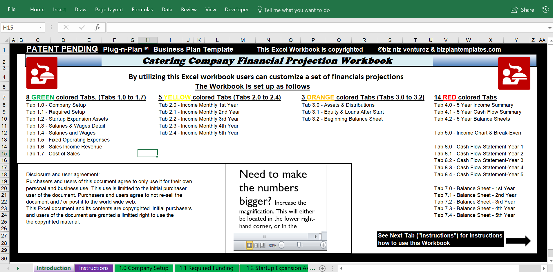 Catering Business Plan Example Excel Financials  Catering