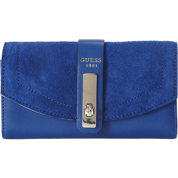 Guess Kingsley Slim Clutch 32 Liked On Polyvore Featuring Bags Handbags Clutches Blue Purses Purse And